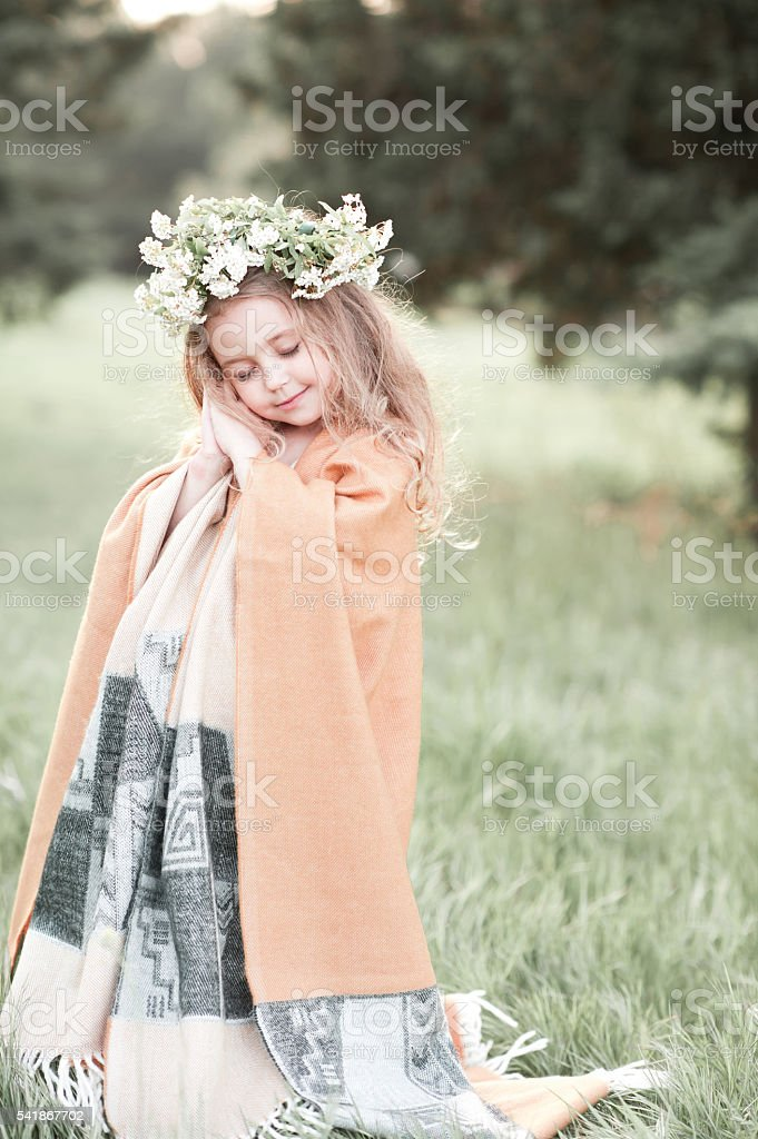 Dreaming kid girl stock photo