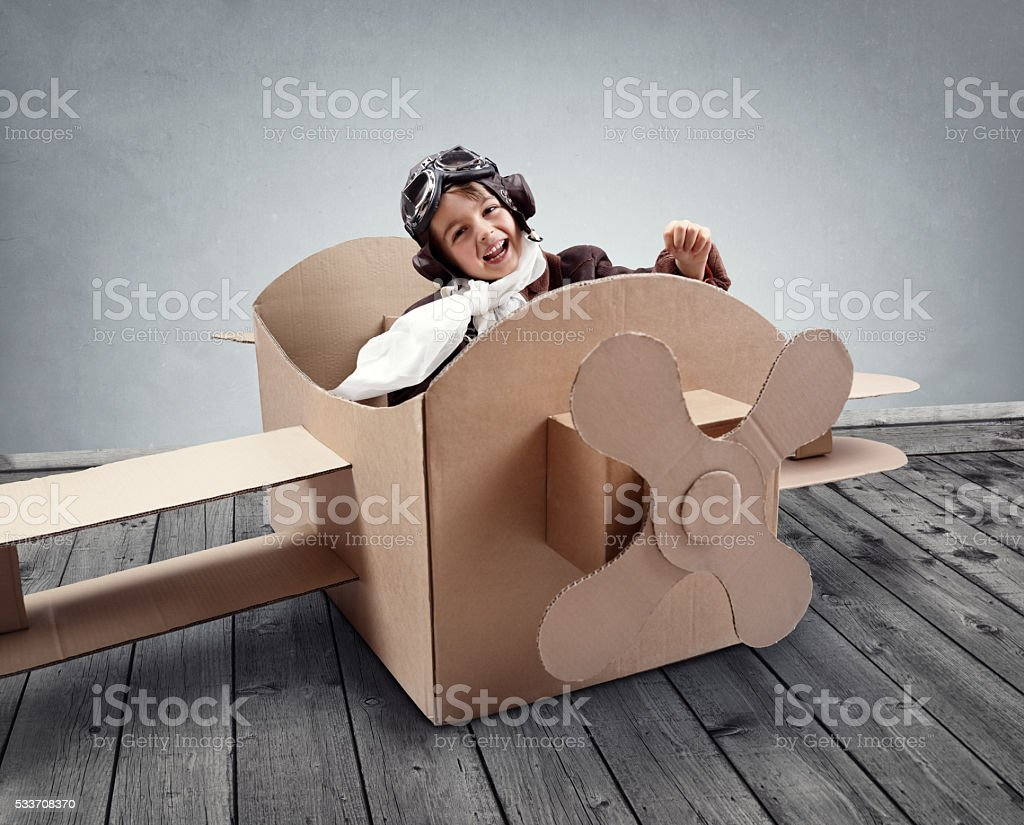 Dreaming of being a pilot stock photo