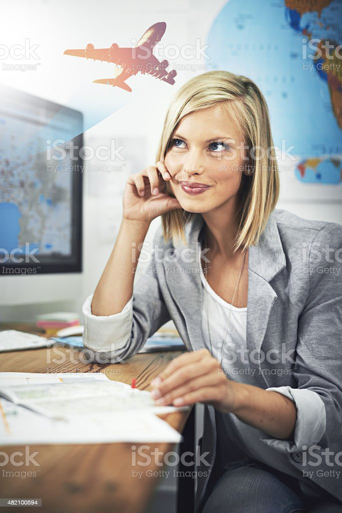 Dreaming of flights abroad stock photo