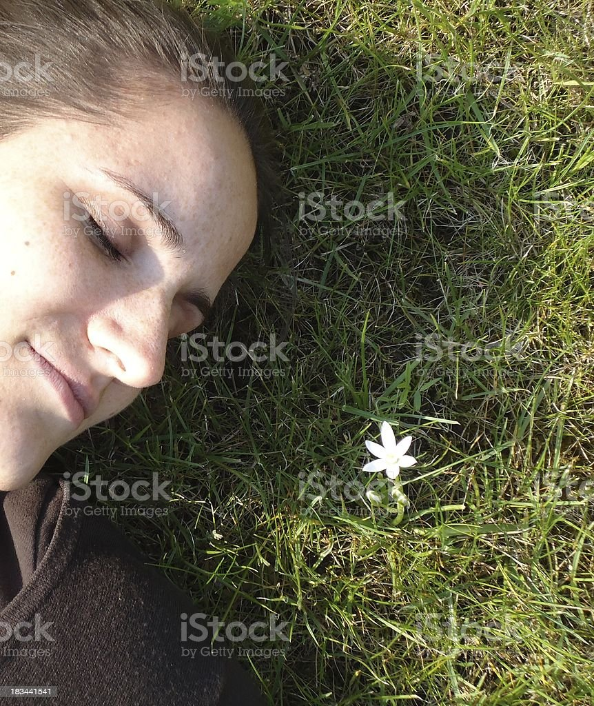 Dreaming on a meadow stock photo