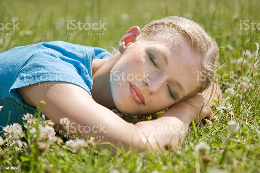 Dreaming on the grass royalty-free stock photo