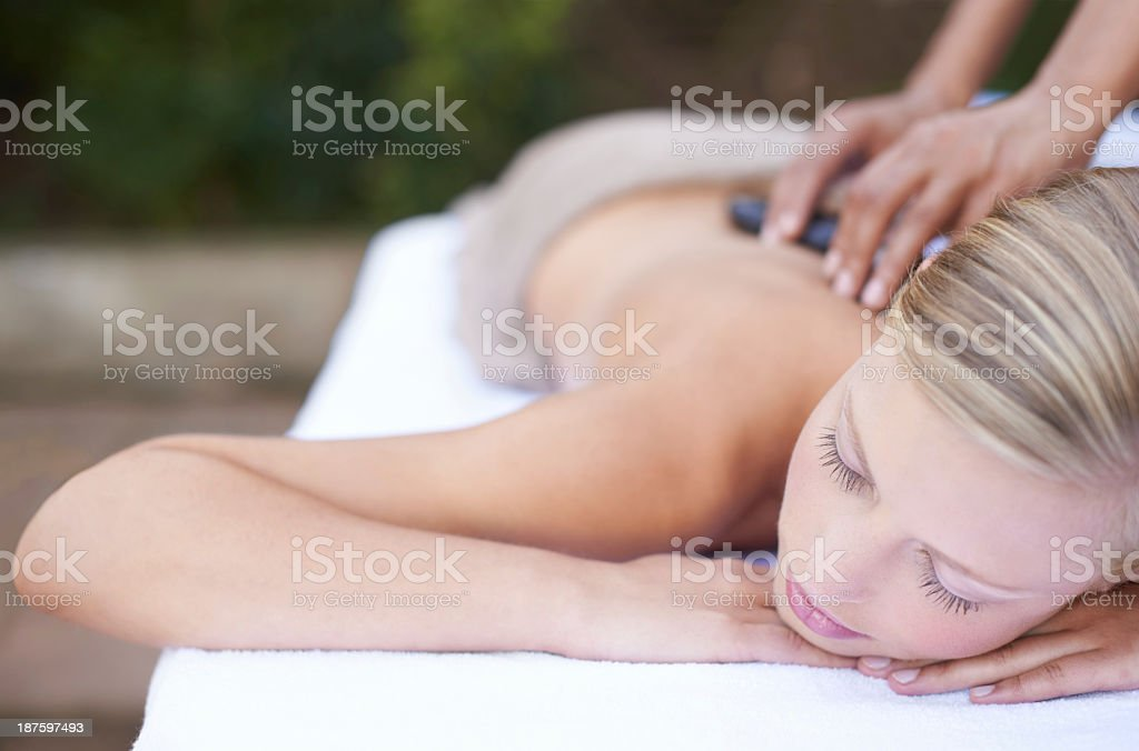 Dreaming while being pampered royalty-free stock photo