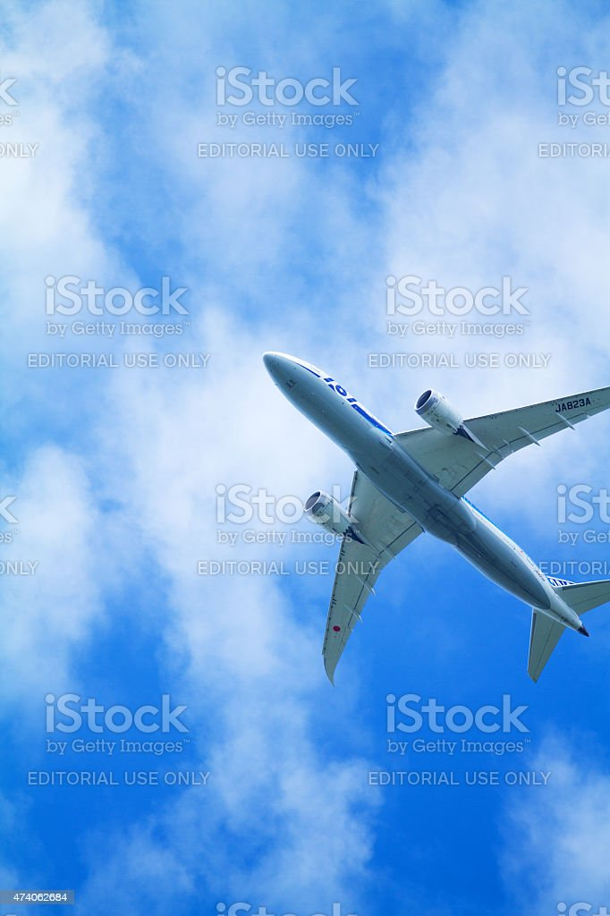 Dreamliner Boing of All Nippon Airways stock photo