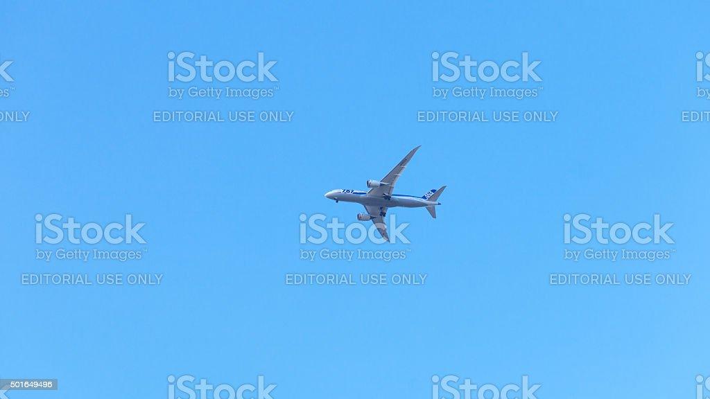 Dreamliner preparing for landing in Düsseldorf stock photo
