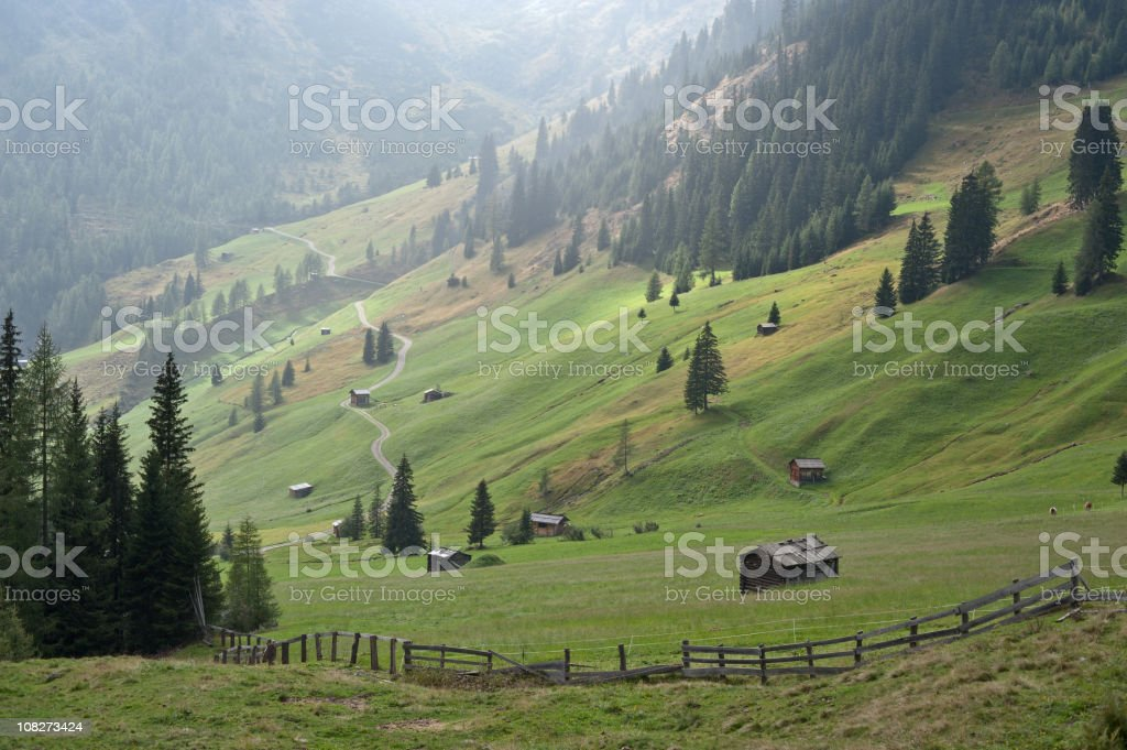 Dreamly Alpine Valley royalty-free stock photo