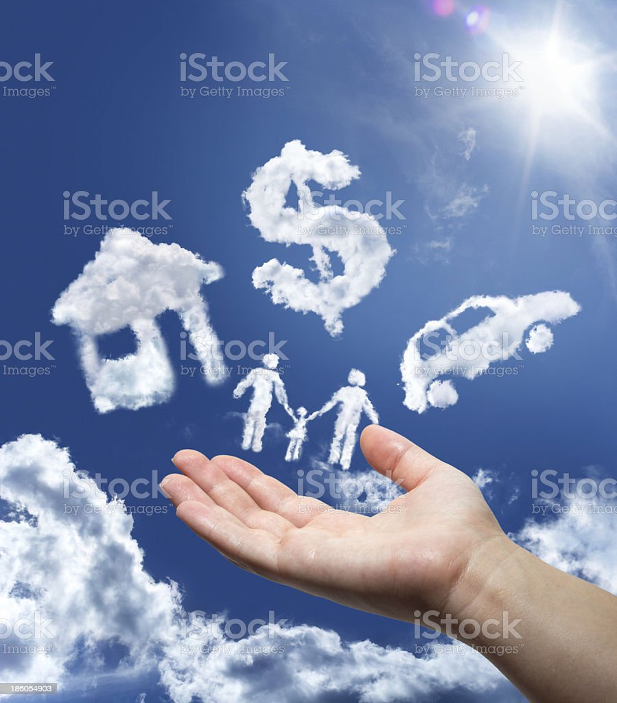 dreams in the sky: car,home,money and family stock photo