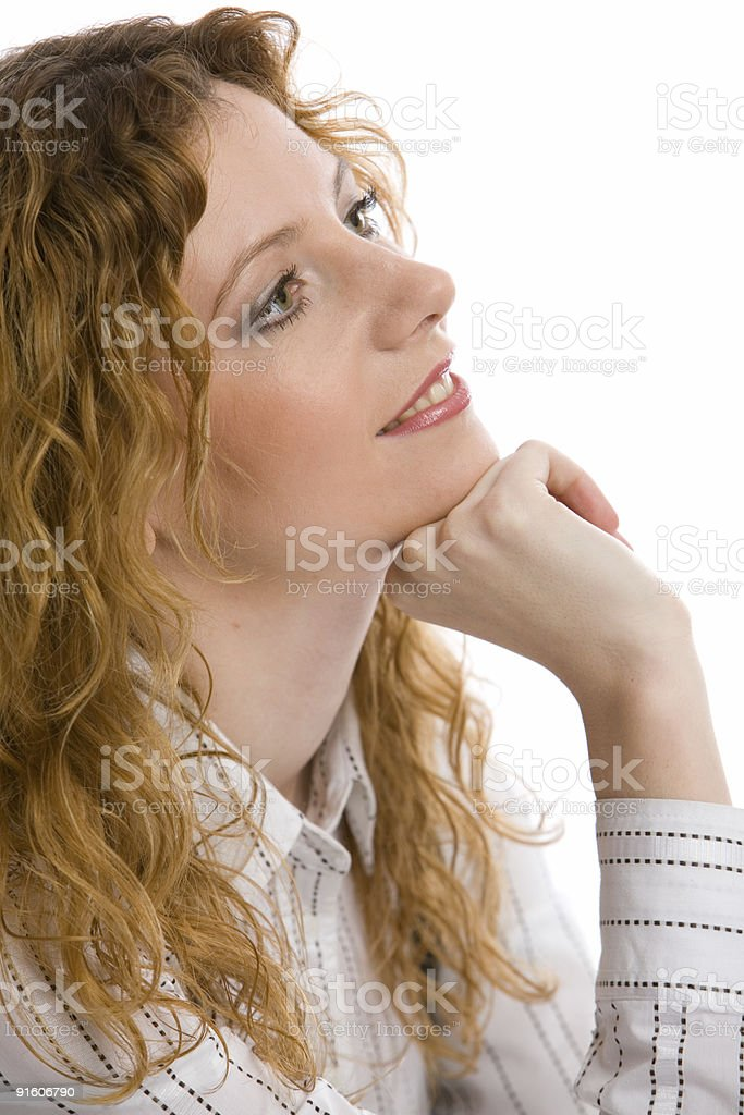 Dreams of young beautiful woman royalty-free stock photo
