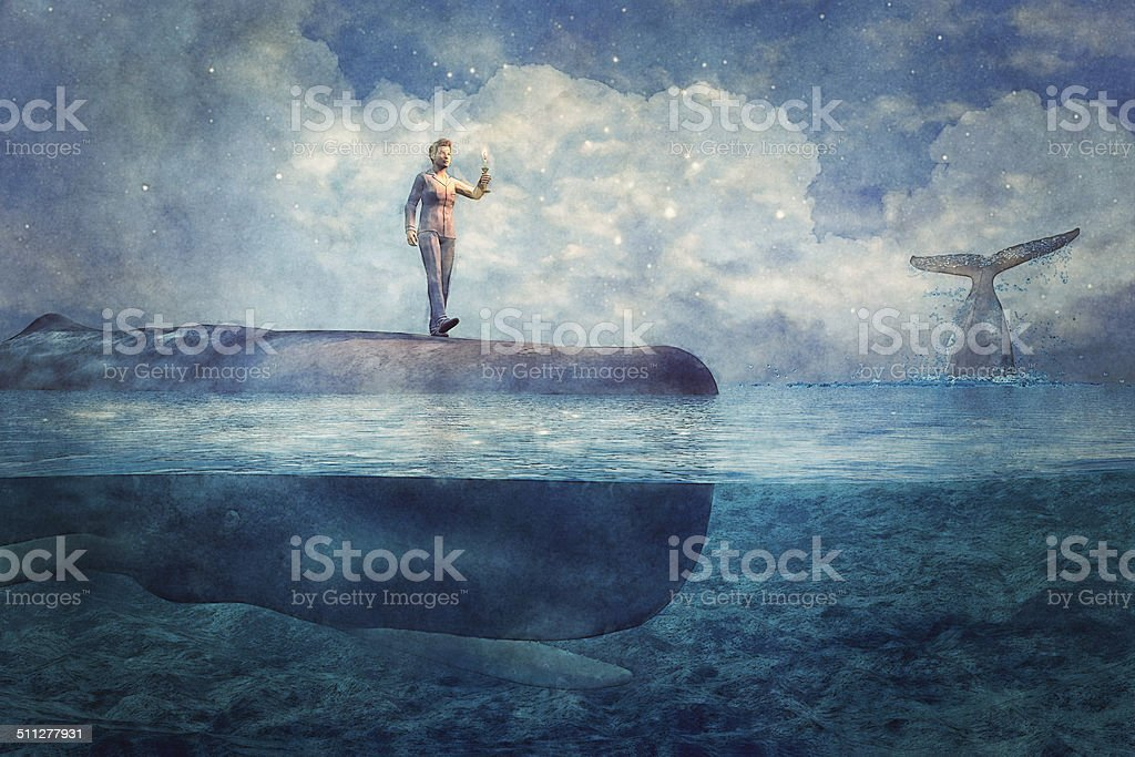 Dreamscape fantasy whale sleepwalker stock photo