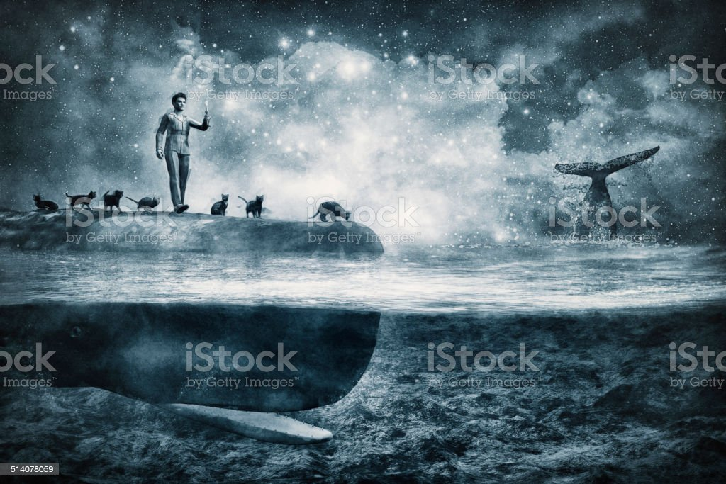 Dreamscape fantasy whale sleepwalker with cats stock photo
