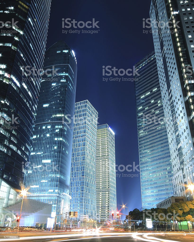 Dreamy blue modern office buildings at night in Shanghai royalty-free stock photo