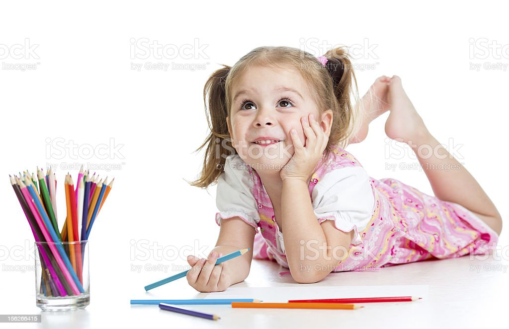 dreamy child girl with pencils royalty-free stock photo