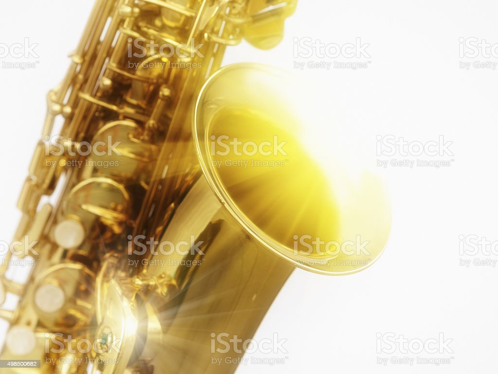 Dreamy cropped close-up of sunlit sax stock photo