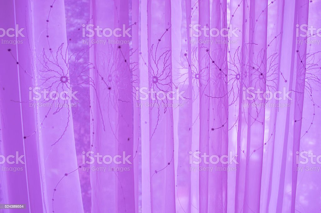 Dreamy curtain with a open window stock photo