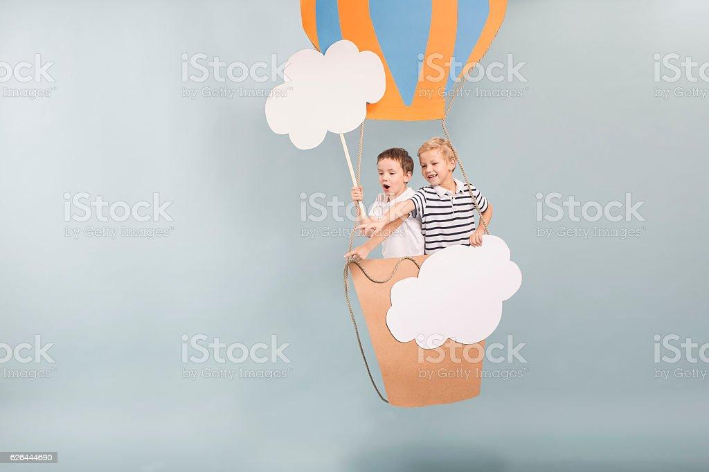 Dreamy flight with diy balloon stock photo