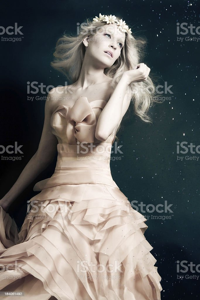 Dreamy Ice Princess in beautiful ball gown stock photo