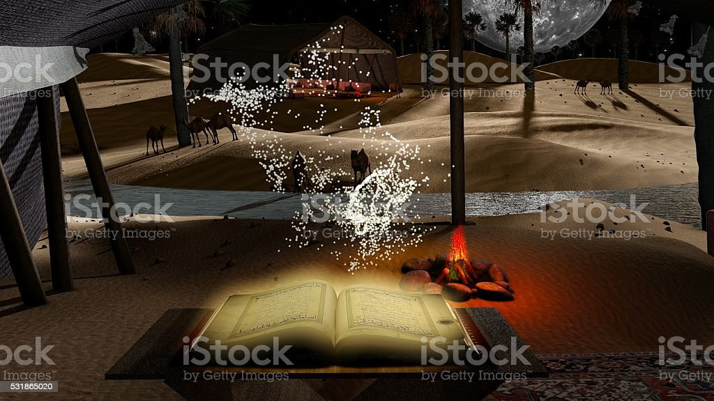 Dreamy night desert with the holdy Quran particles stock photo