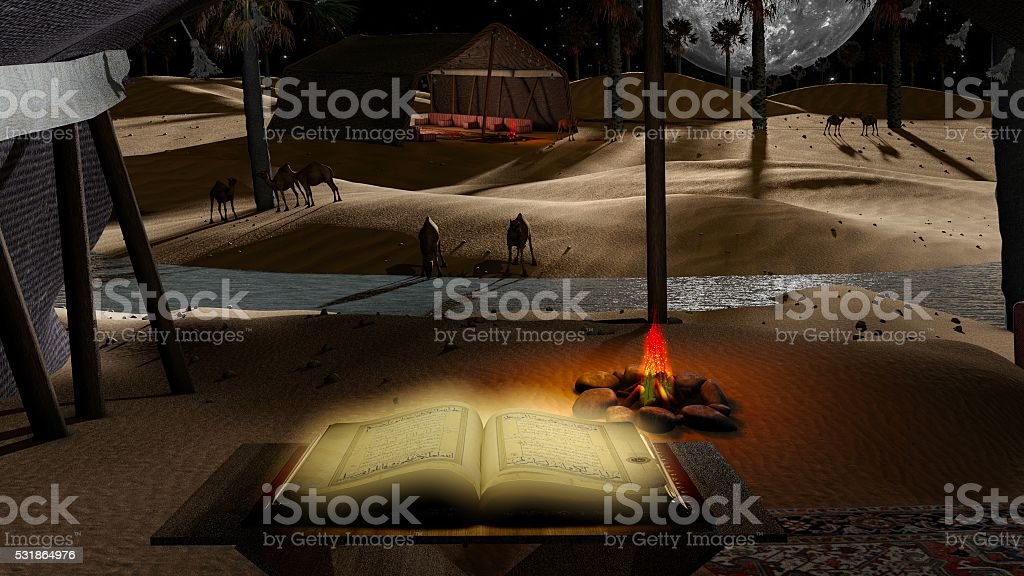 Dreamy night desert with the holdy Quran stock photo