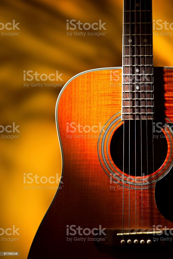 Dreamy Old 6 string accoustic guitar stock photo