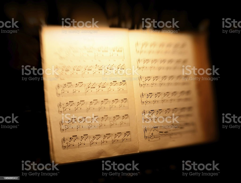 Dreamy Sheet music on Piano taken with a lensbaby royalty-free stock photo