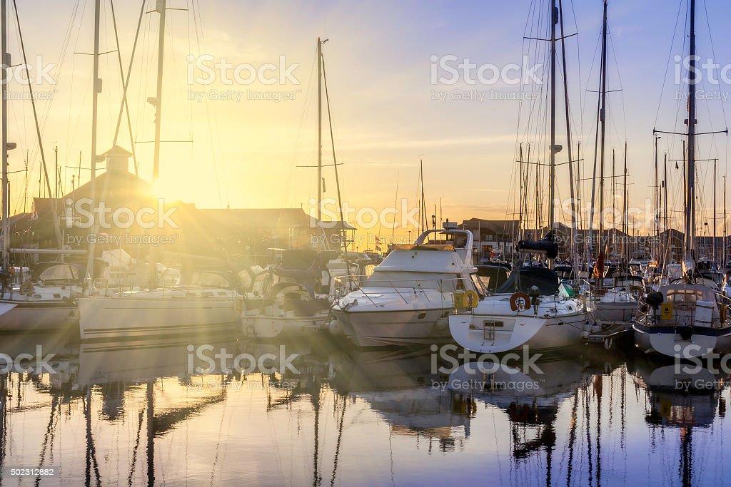 Dreamy Sunrise Harbour stock photo
