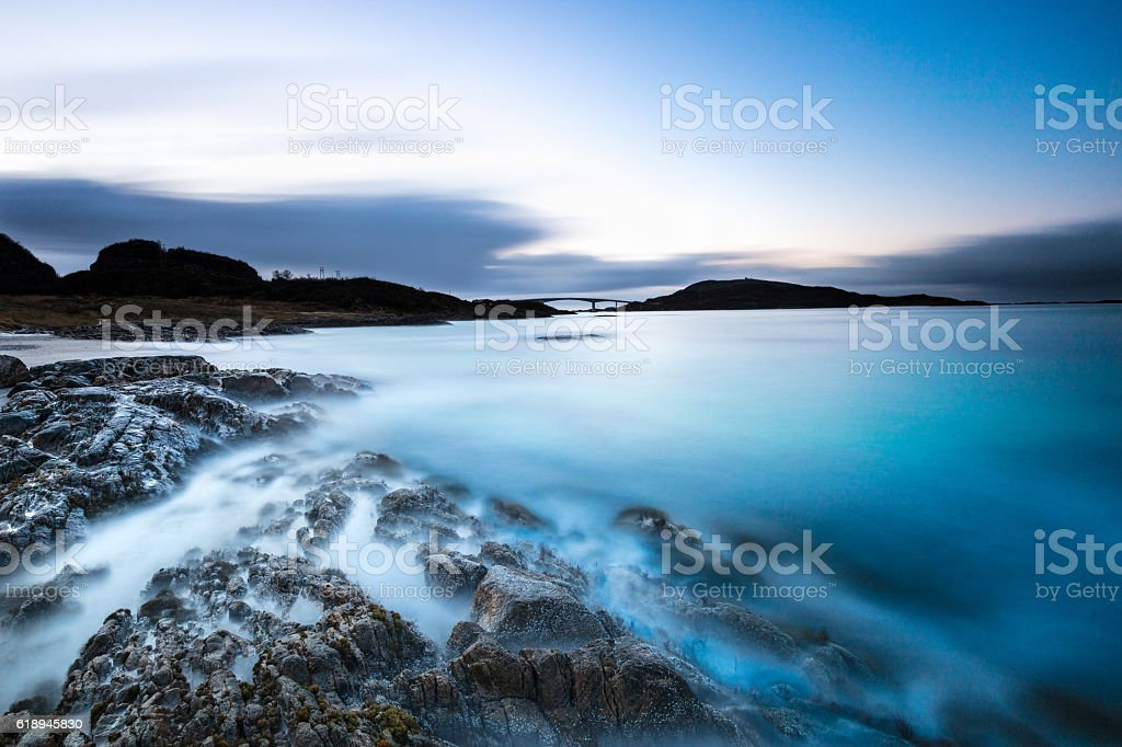 Dreamy Sunset in Northern Norway stock photo