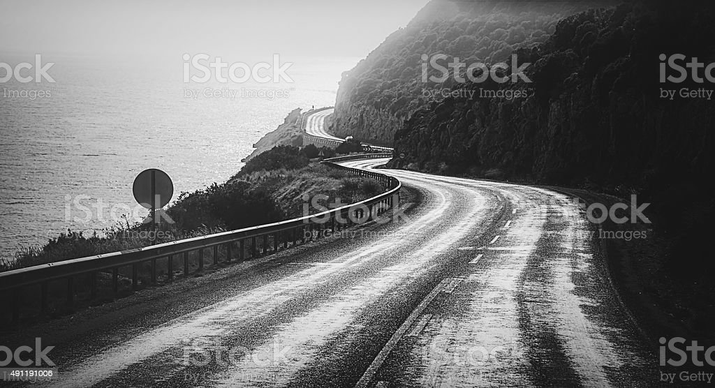Dreamy way -  The Straight and Crooked Way Monochrome stock photo
