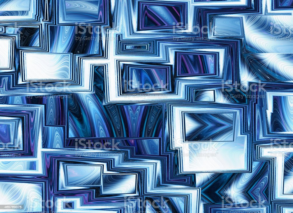 dreamy world of view through abstract blue window frames stock photo