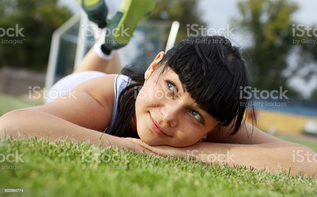 dreamy young woman face stock photo