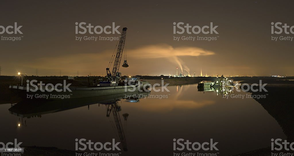 Dredger And Heavy Industry At Night royalty-free stock photo