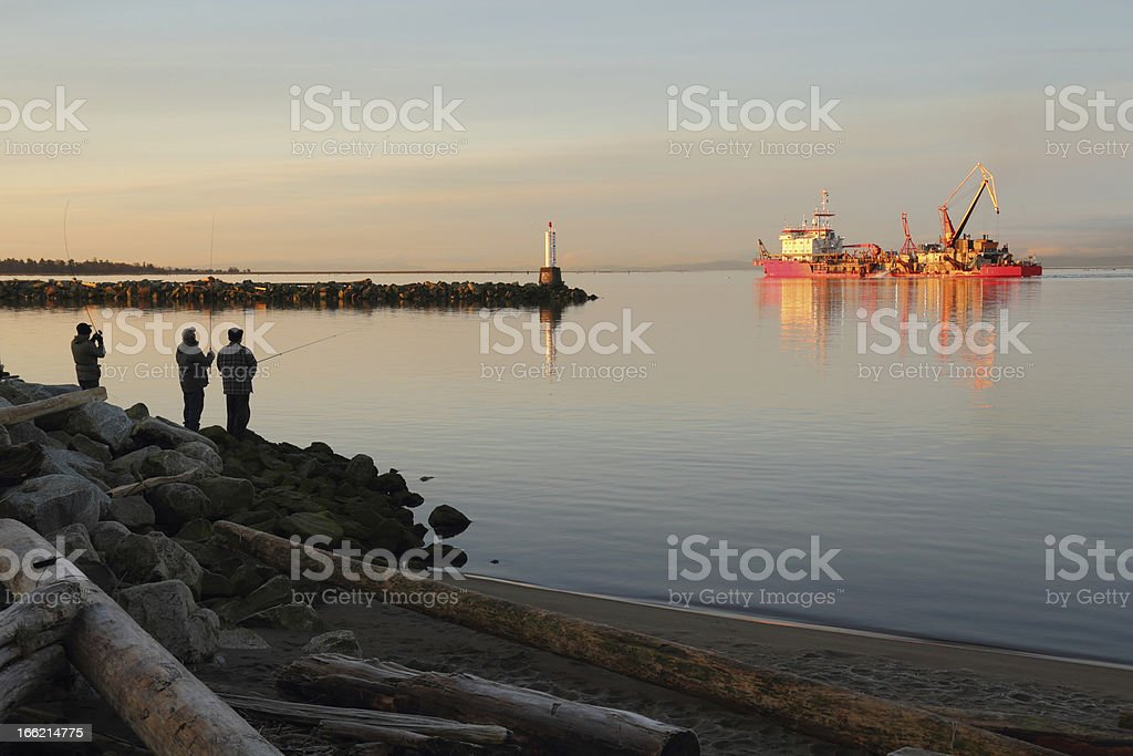 Dredger, Fraser River Morning stock photo