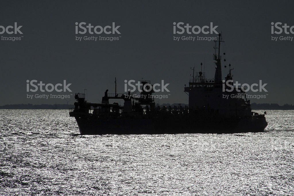 Dredger on the North Sea royalty-free stock photo
