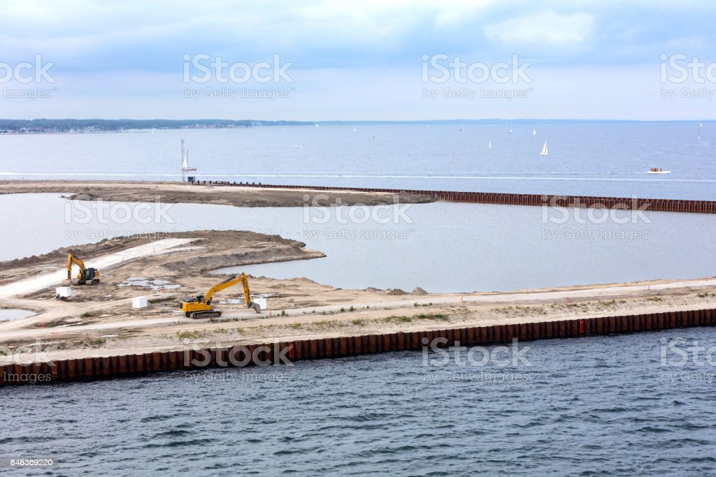 dredging and expansion works stock photo
