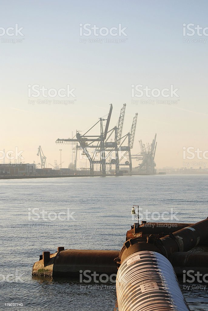 Dredging in the port of Antwerp royalty-free stock photo