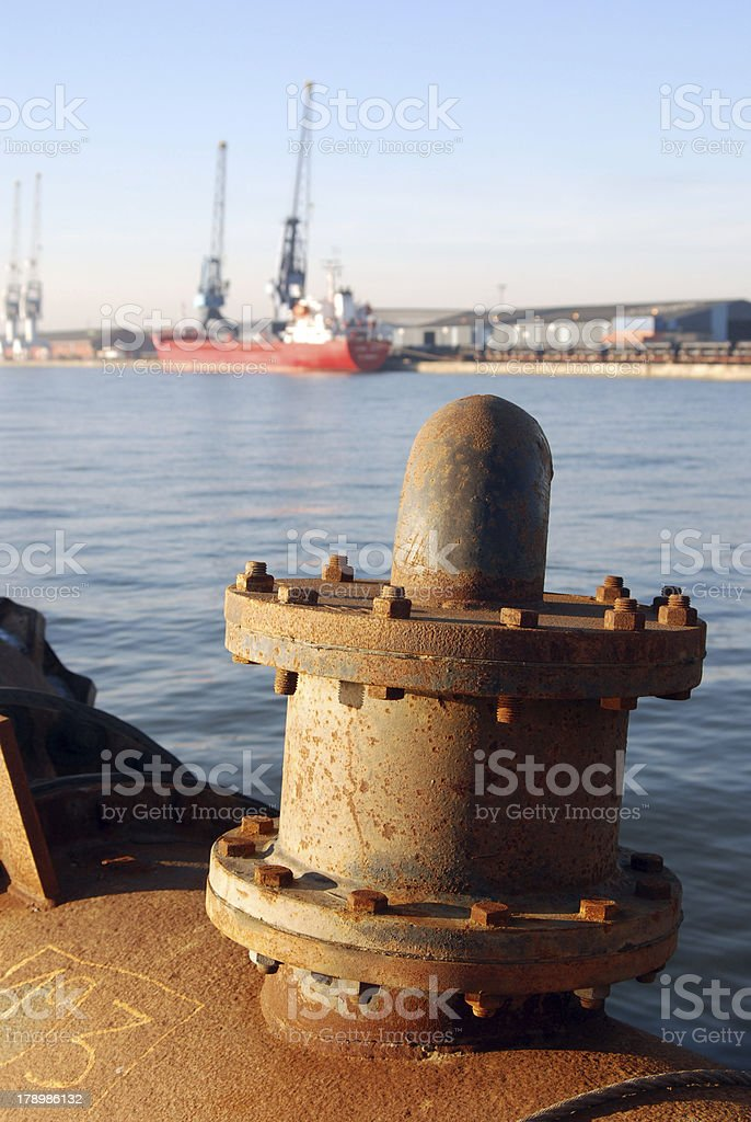 Dredging pipe in the port of Antwerp royalty-free stock photo