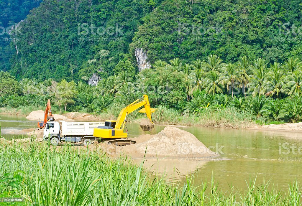 Dredging the canal... royalty-free stock photo