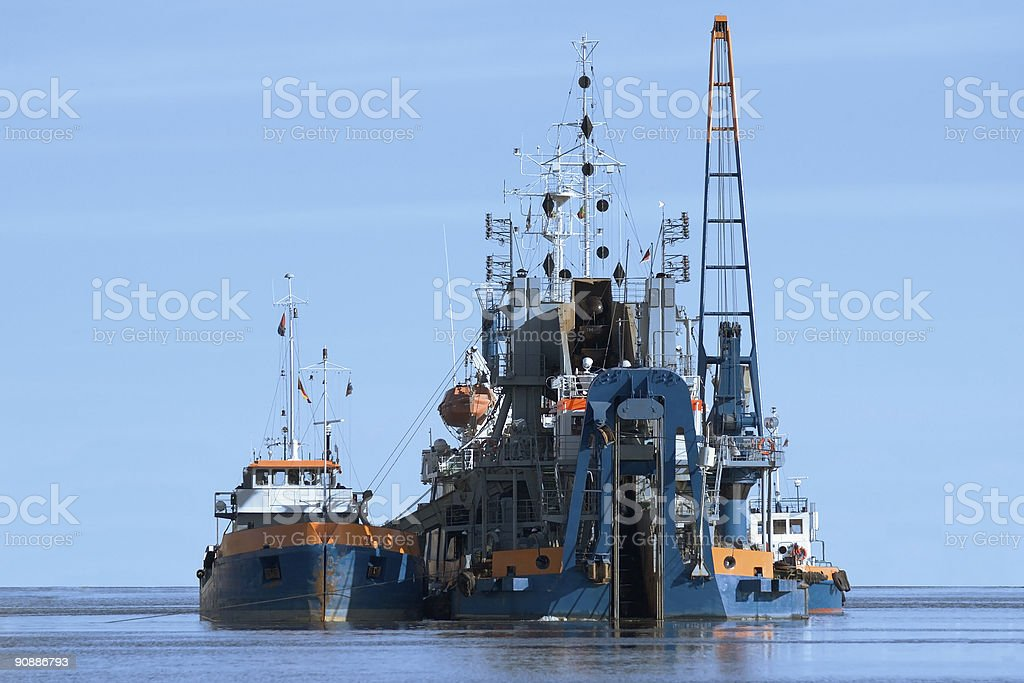 dredging vessel and barge royalty-free stock photo