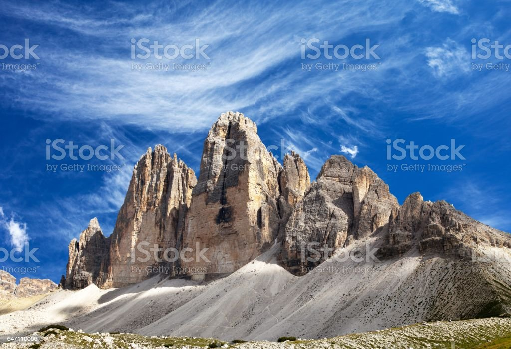 Drei Zinnen or Tre Cime di Lavaredo with beautiful cloud stock photo