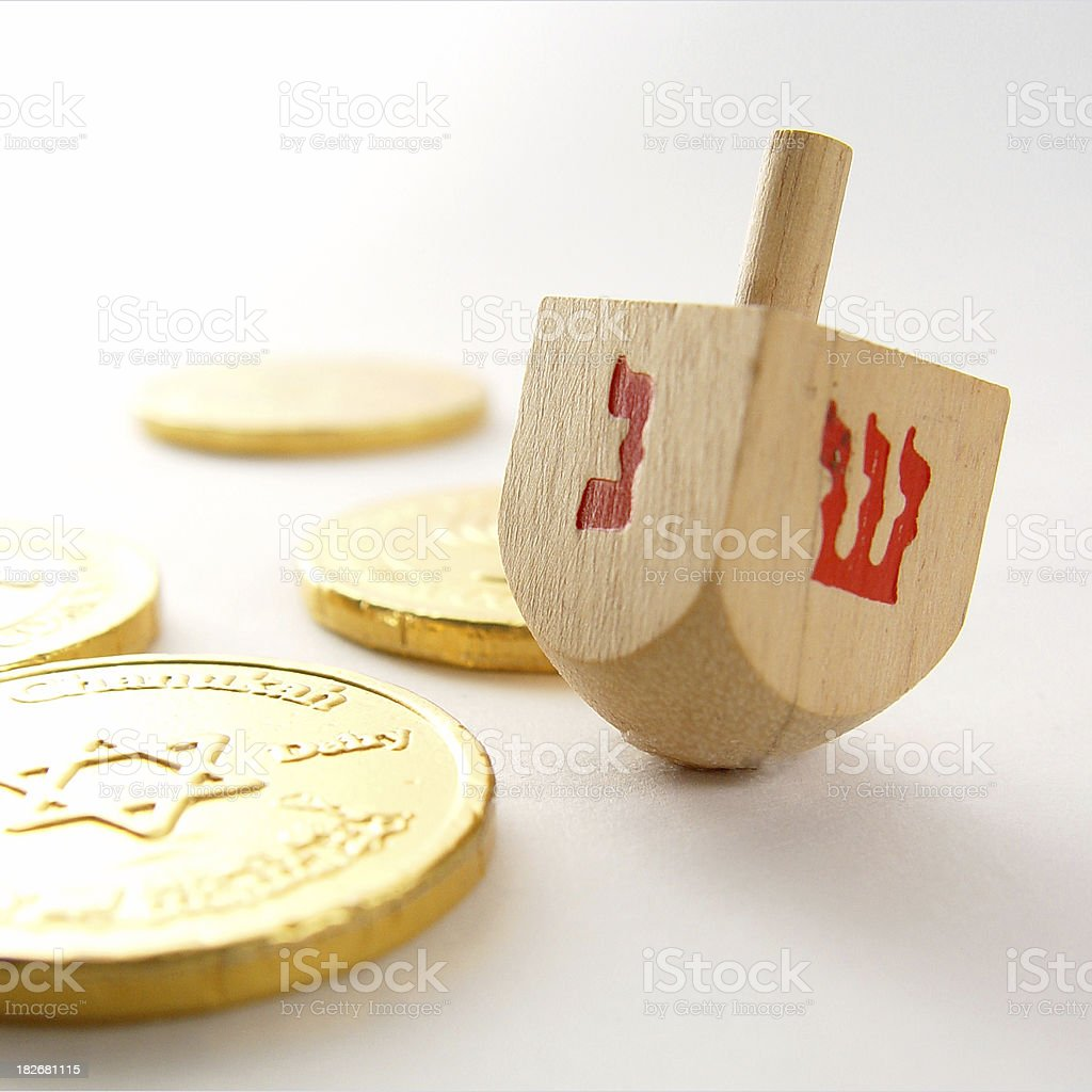Dreidel and candy coins royalty-free stock photo