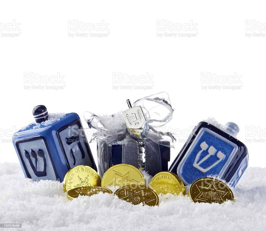 Dreidel and Jewish coins stock photo