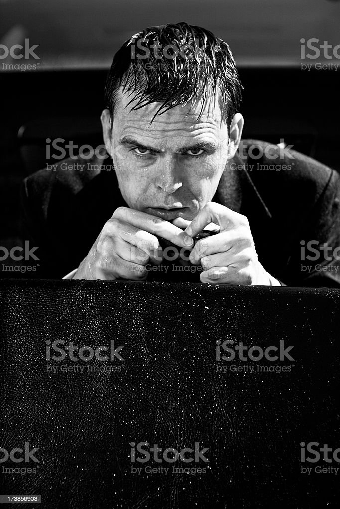 drenched and frightened businessman royalty-free stock photo