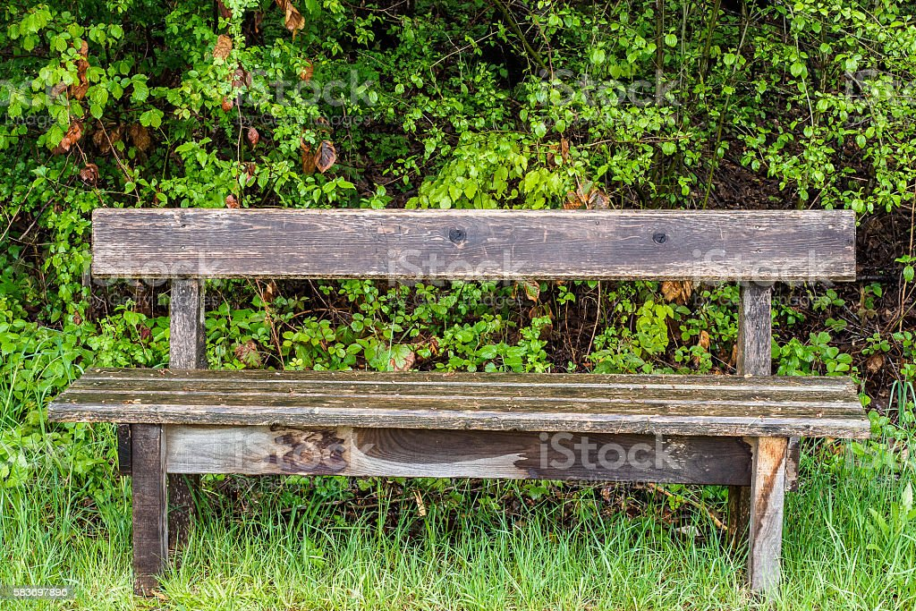 Drenched bench stock photo
