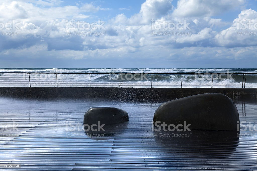 Drenched Boardwalk royalty-free stock photo