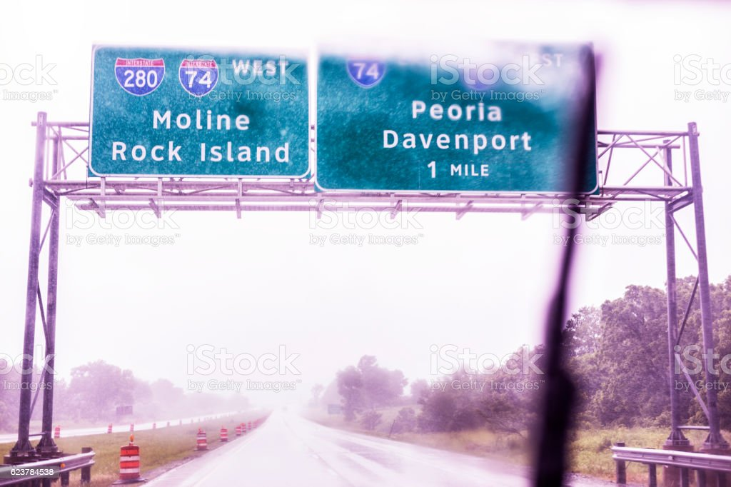 Drenching Downpour Interstate 80 Illinois Iowa Expressway Road Sign stock photo