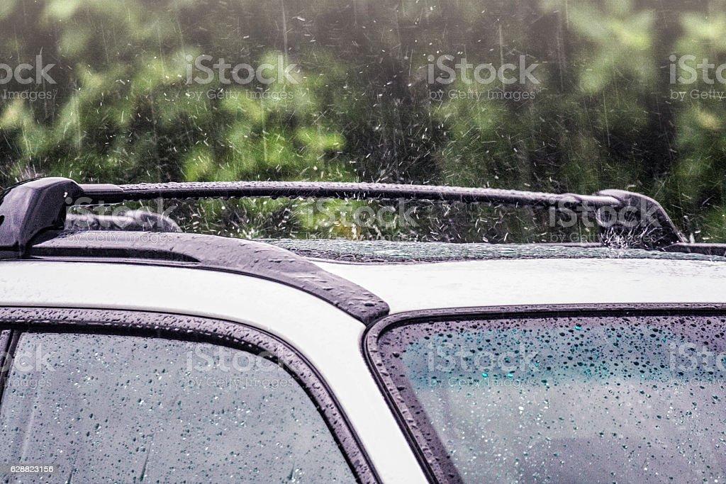 Drenching Rain Storm Downpour On Car stock photo