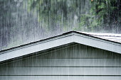Drenching Rain Storm Downpour on Old Shed Roof