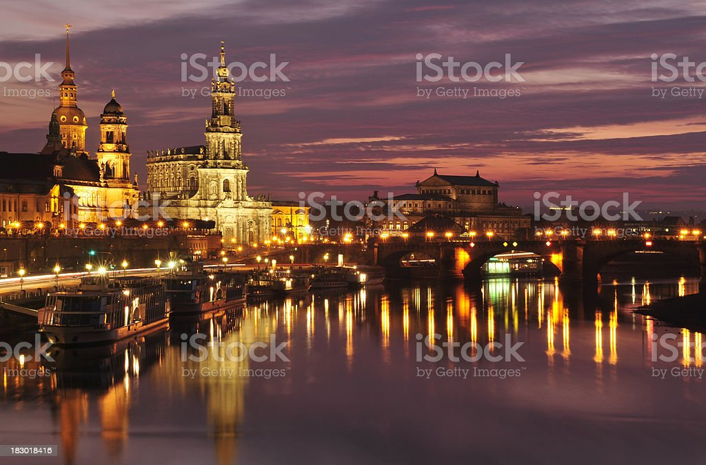 Dresden, afterglow over the skyline stock photo