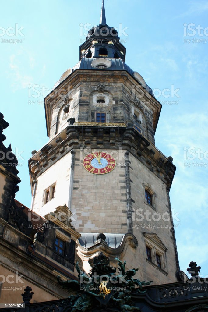 Dresden and amasing Hausmannsturm - Germany stock photo