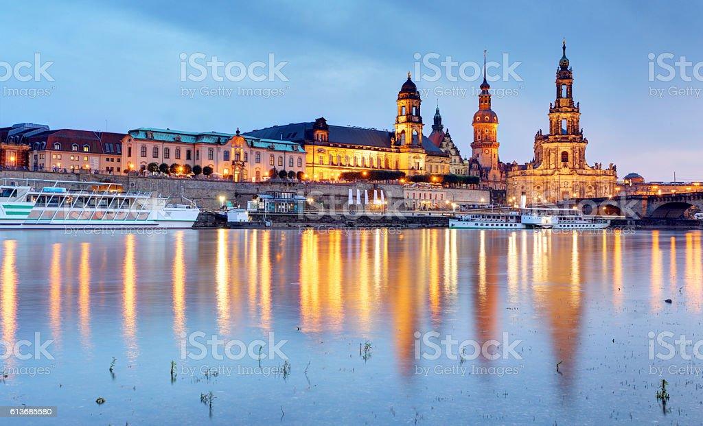 Dresden at night, Germany stock photo