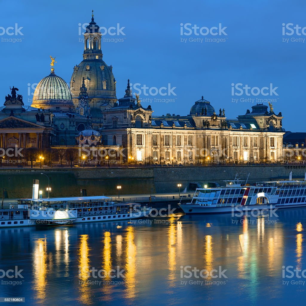 Dresden at night, skyline with Frauenkirche stock photo