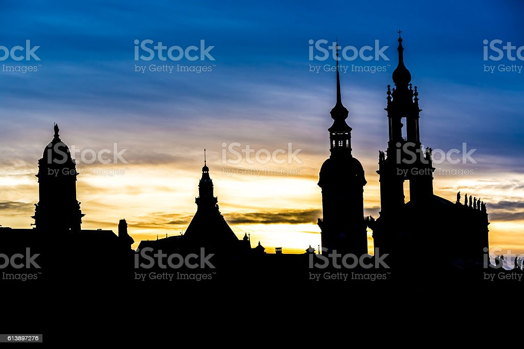 Dresden at sunset stock photo